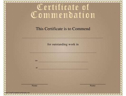 """Certificate of Commendation Template"" Download Pdf"