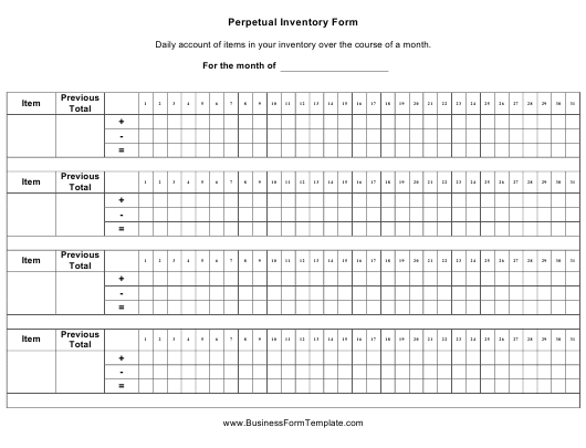 """Perpetual Inventory Form"" Download Pdf"