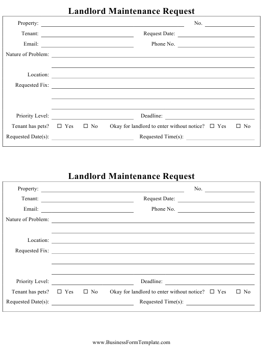 """Landlord Maintenance Request Form"" Download Pdf"