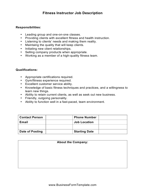 """Fitness Instructor Job Description Template"" Download Pdf"