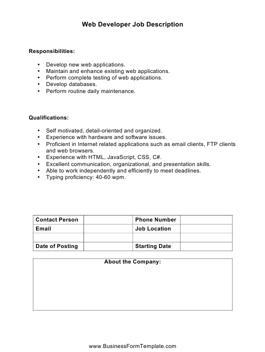 """Web Developer Job Description Template"" Download Pdf"