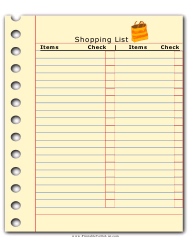 Shopping List Template