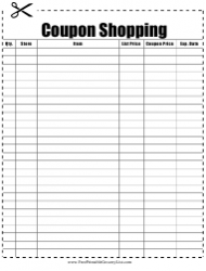 Coupon Shopping List Template