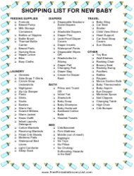 New Baby Shopping List Template
