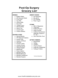 """Post Op Surgery Shopping List Template"""