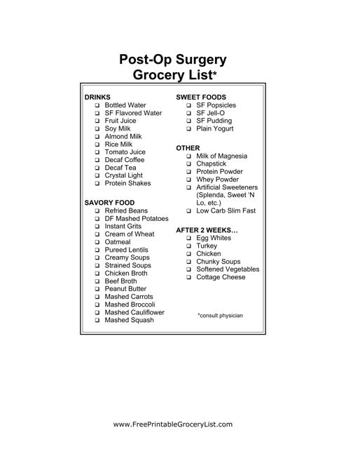 """Post Op Surgery Shopping List Template"" Download Pdf"