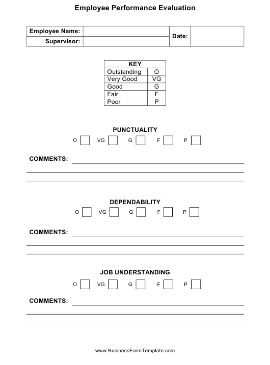Employee Performance Evaluation Form Download Pdf