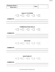 """""""Employee Performance Evaluation Form"""", Page 2"""