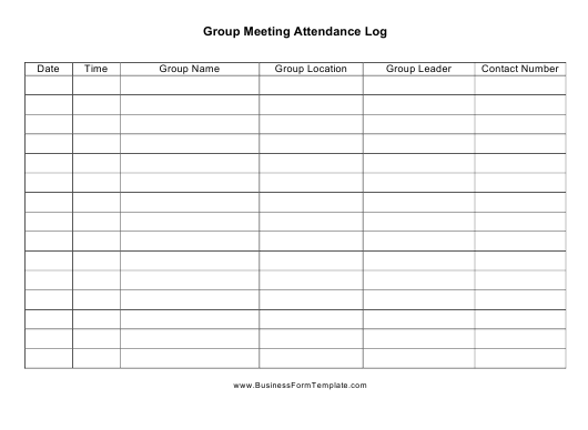 """Group Meeting Attendance Log Template"" Download Pdf"