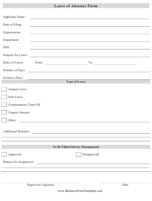 Leave of Absence Form Download Pdf