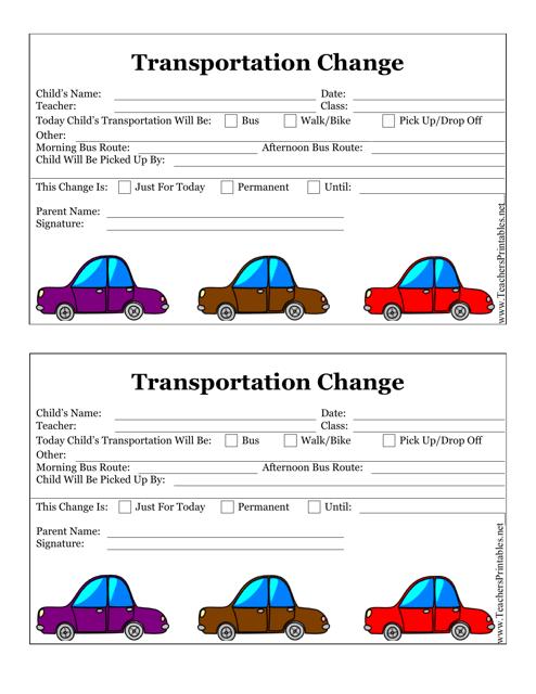 """""""Transportation Change Form"""" Download Pdf"""
