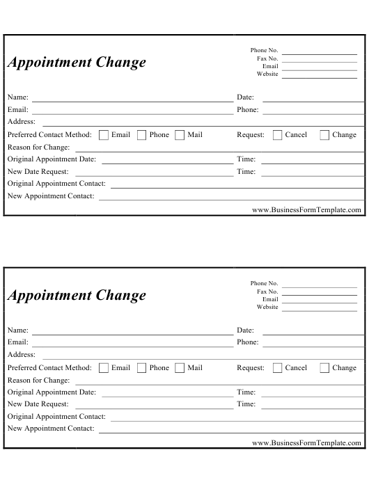 Appointment Change Form Download Printable PDF | Templateroller