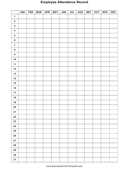 """""""Employee Attendance Record Template"""" Download Pdf"""