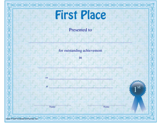 """""""First Place Certificate Template"""" Download Pdf"""