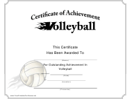 """""""Volleyball Certificate of Achievement Template"""""""