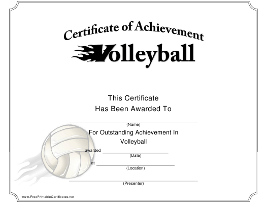 """""""Volleyball Certificate of Achievement Template"""" Download Pdf"""