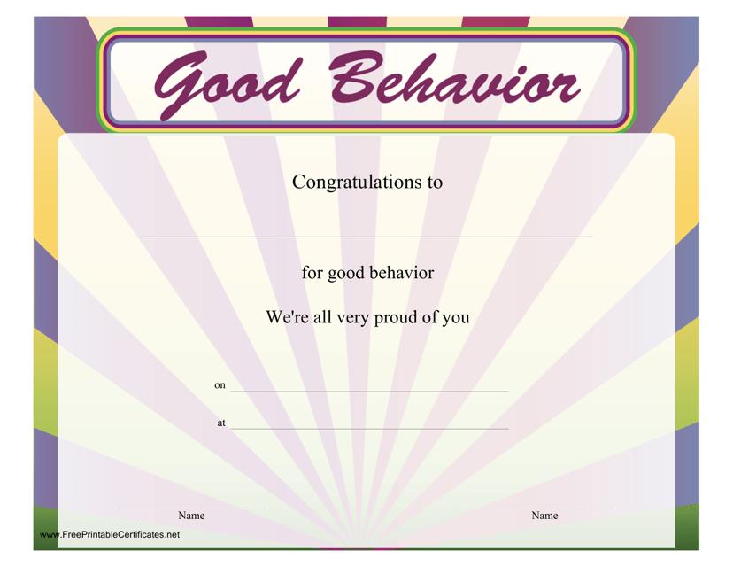 """Good Behaviour Certificate Template"" Download Pdf"
