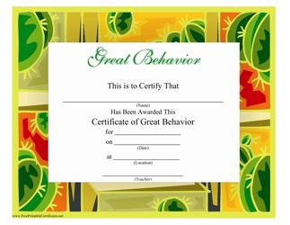 """Great Behavior Certificate Template"""