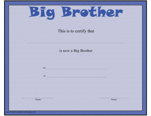 """Big Brother Certificate Template"" Download Pdf"
