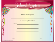 """Outstanding School Spirit Certificate Template"""