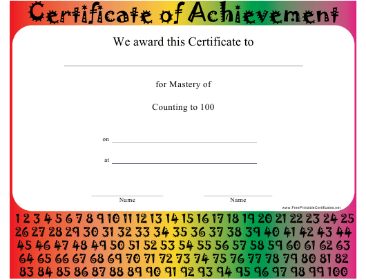 """""""Mastery of Counting to 100 Certificate Template"""" Download Pdf"""