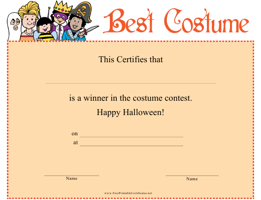 Best Halloween Costume Certificate Template Download Printable Pdf