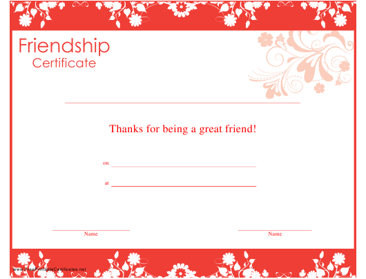 """Friendship Certificate Template"" Download Pdf"