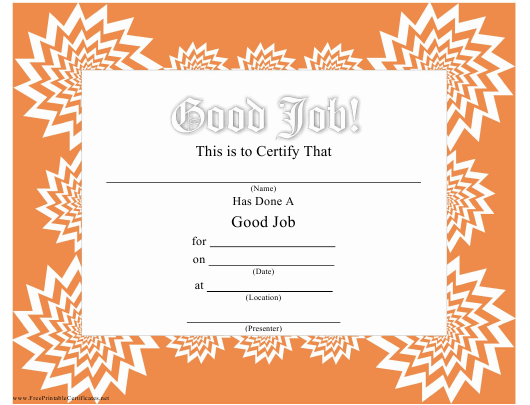 """Good Job Certificate Template"" Download Pdf"