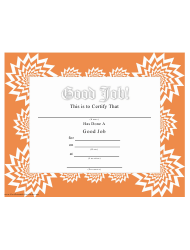 Good Job Certificate Template