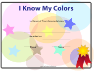 """I Know My Colors Certificate Template for Kids"""