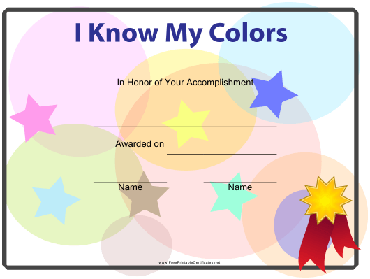 """I Know My Colors Certificate Template for Kids"" Download Pdf"