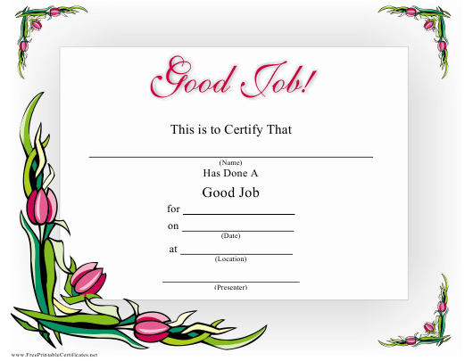 Good Job Certificate Template Download Pdf