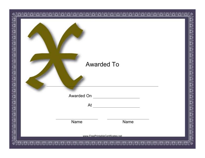 """Monogram X Certificate Template"" Download Pdf"
