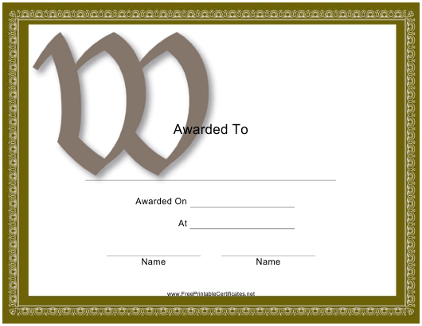 """Monogram W Award Certificate Template"" Download Pdf"