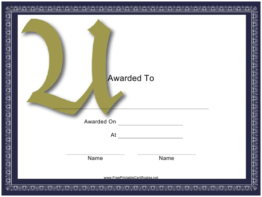 """Monogram U Certificate Template"" Download Pdf"