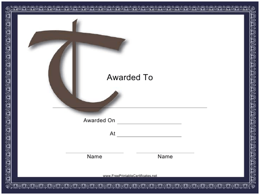 """Monogram T Certificate Template"" Download Pdf"