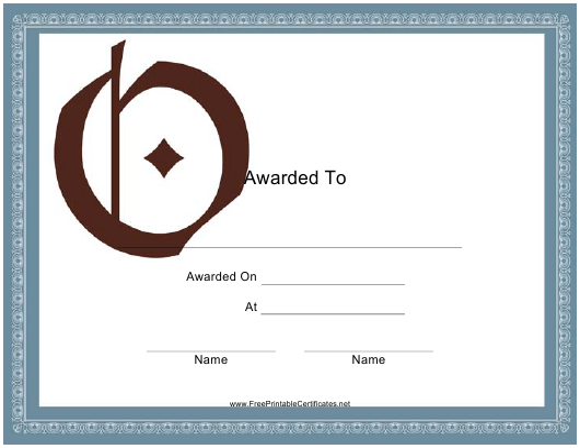 """Monogram O Certificate Template"" Download Pdf"