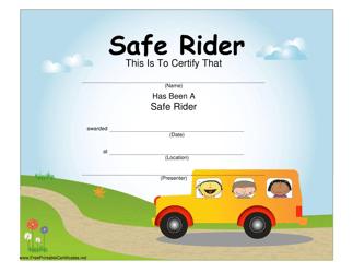 """Safe Rider Certificate Template"""
