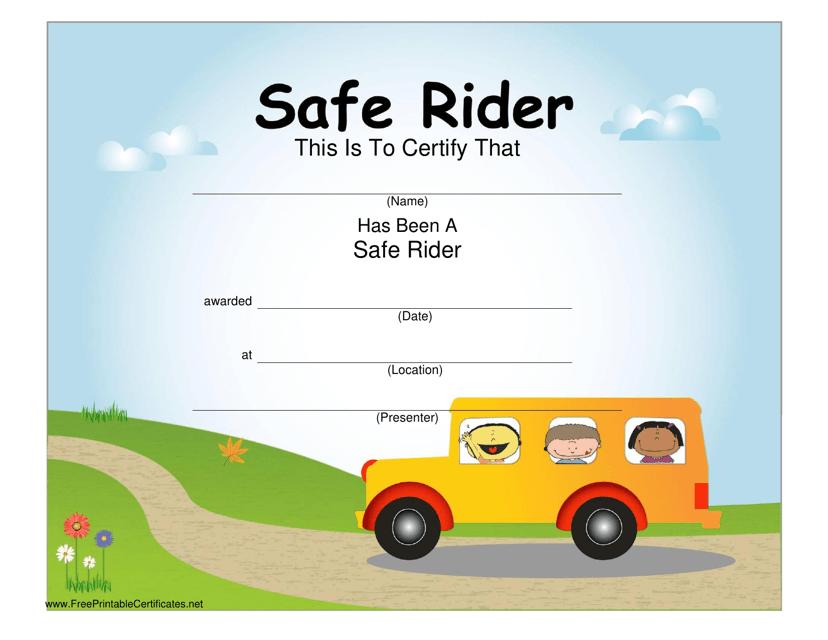 """Safe Rider Certificate Template"" Download Pdf"