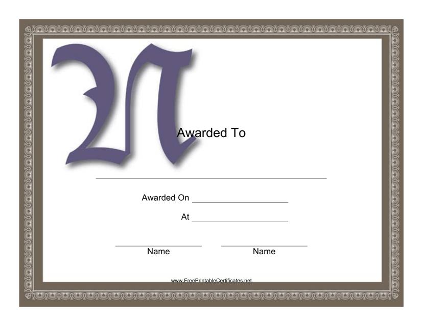 """""""Monogram N Award Certificate Template"""" Download Pdf"""