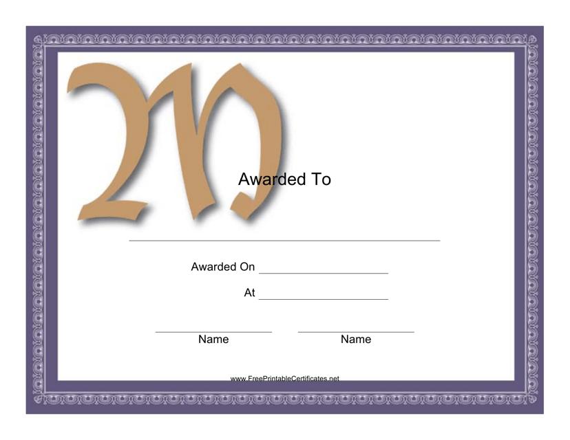 """""""Monogram M Award Certificate Template"""" Download Pdf"""