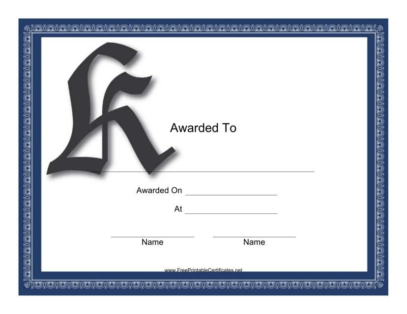"""""""Monogram K Certificate Template"""" Download Pdf"""