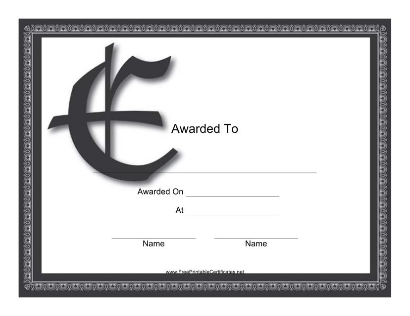 """E Monogram Award Certificate Template"" Download Pdf"