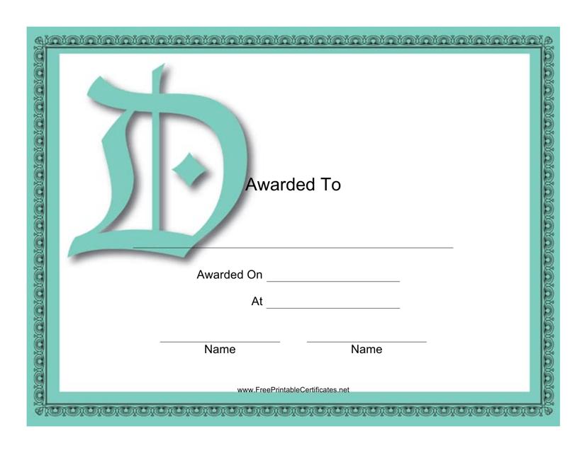 """""""D Monogram Award Certificate Template"""" Download Pdf"""