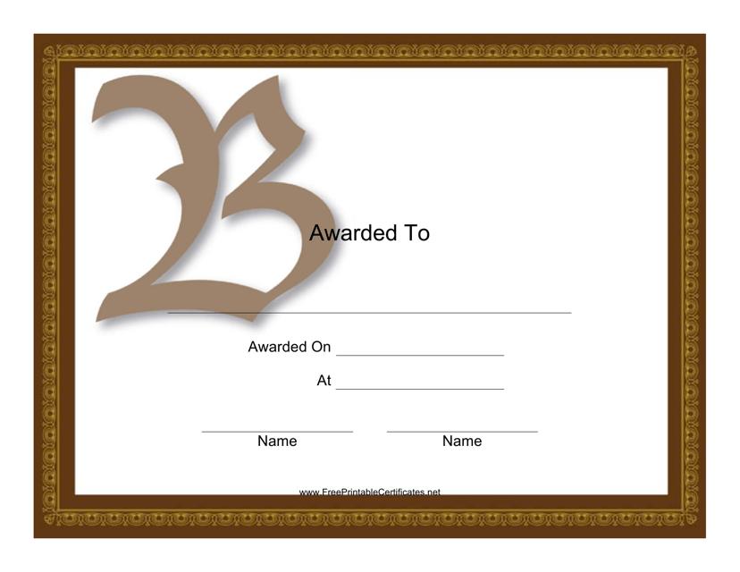 """""""B Monogram Award Certificate Template"""" Download Pdf"""