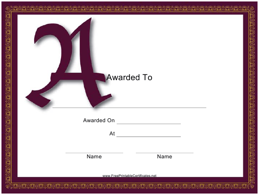 """A Monogram Award Certificate Template"" Download Pdf"