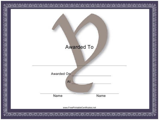 """""""Centered Y Monogram Certificate Template"""" Download Pdf"""
