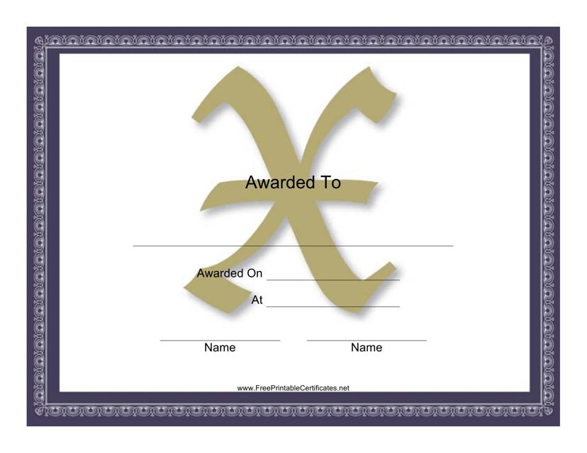 """Centered X Monogram Certificate Template"" Download Pdf"