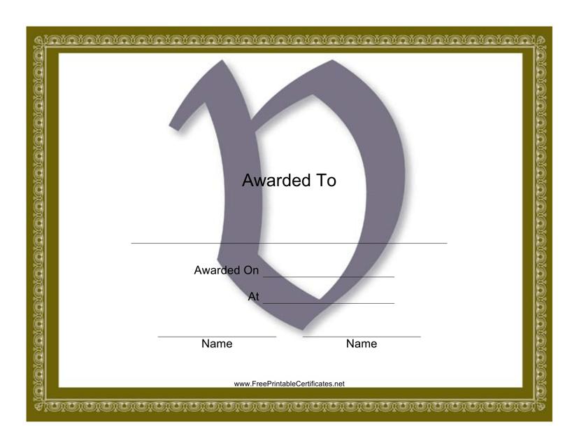 """Centered V Monogram Certificate Template"" Download Pdf"