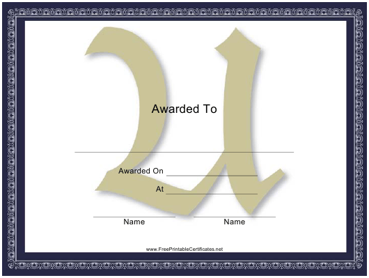 """Centered U Monogram Certificate Template"" Download Pdf"